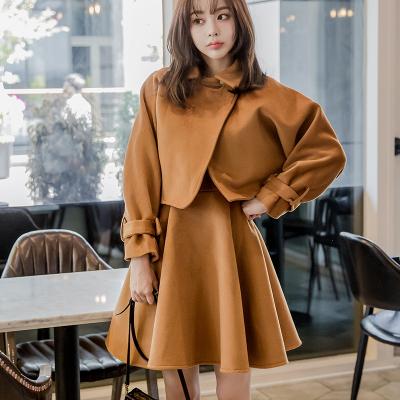 恩黛 实拍2017秋冬装新款韩版长袖两件套连衣裙纯色A字裙 Q047F6084