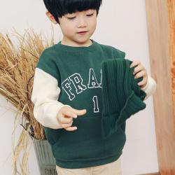 PONIPONCHI 圆领时尚拼袖毛衣 L028#