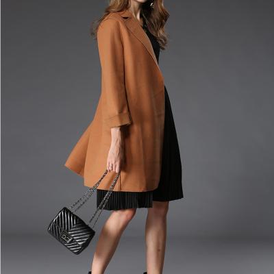 琴之云裳双面呢大衣纯色长袖外套欧美风精品衣裳8022