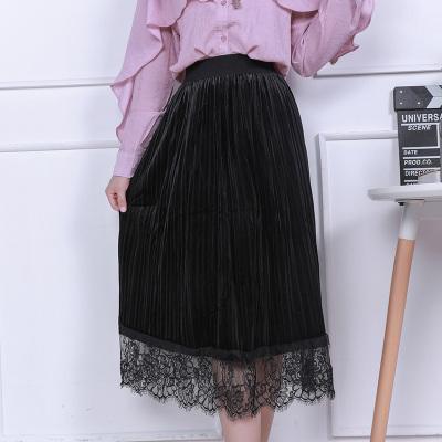 琴之云裳 2017年新款时尚百搭金丝绒蕾丝半身裙