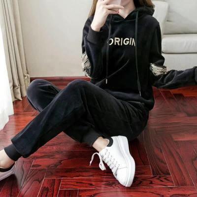 布桂坊 2017秋冬新款运动套装韩版金丝绒卫衣休闲套装女