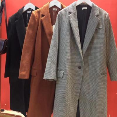 【直播限量秒杀】AE 2017秋冬新款韩国气质纯色呢料大衣修身显瘦中长款毛呢外套女