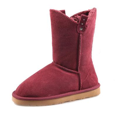 每度(MEIDU)罗瑞尔LUORUIR冬季新款韩版磨砂牛皮铆钉雪地靴女清仓中筒靴 L31X007