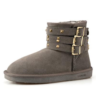 每度(MEIDU)罗瑞尔灰色柳钉雪地靴 L51XX501