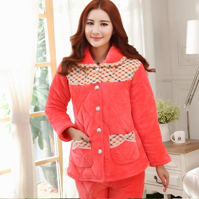 冬季睡衣夹棉法兰绒珊瑚绒女士家居服套装加厚 833