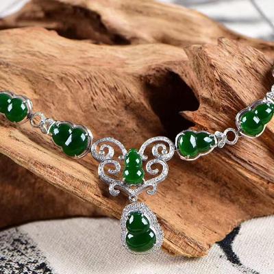 逸之璟 冰种辣绿葫芦晚装链