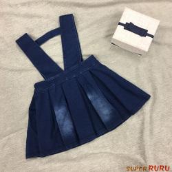 Super RuRu 日韩系公主风女童牛仔背带裙 SR01