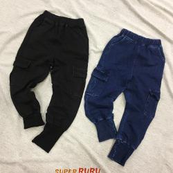 Super RuRu 日韩系休闲风男女童螺纹束脚牛仔裤 SR10