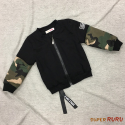 Super RuRu 日韩系男童秋冬假两件拼接迷彩袖夹棉外套 SR18