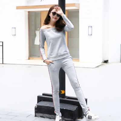 豪丽雅 休闲时尚一字领卫衣套装 MT10012#