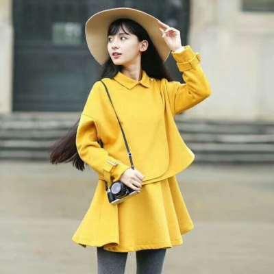 冬季时尚新款上新长袖套装V领连衣裙加短裙