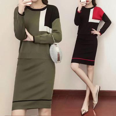 布桂坊 2017秋冬新款毛衣针织连衣裙女套装裙 817