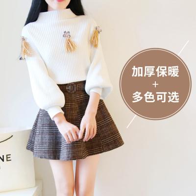 2017秋冬宽松百搭订花立体花蝙蝠袖甜美加厚针织衫毛衣女 #018