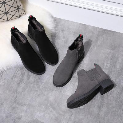 荷月诗 冬款韩版气质黑色牛京女短靴HQ17400