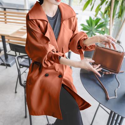 恩黛 实拍2017冬装新款女装韩版长袖宽松风衣系带纯色中长款上衣 Q047F6109