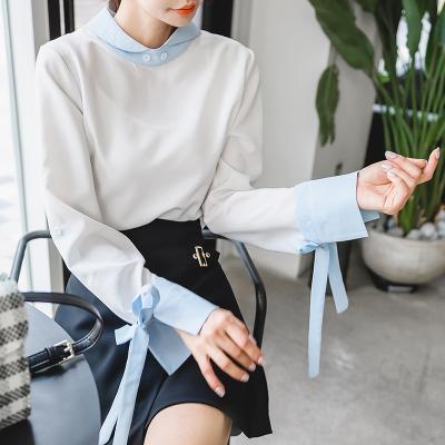 恩黛 实拍2017冬装新款韩版小清新长袖雪纺衬衫娃娃领显瘦上衣 Q047F6112