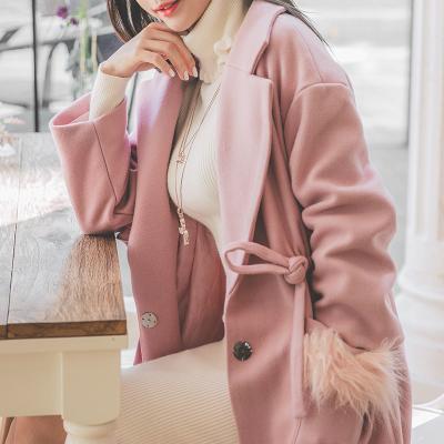 恩黛 实拍秋冬装新款韩版宽松长款纯色加厚上衣长袖系带毛呢外套 Q047F6085