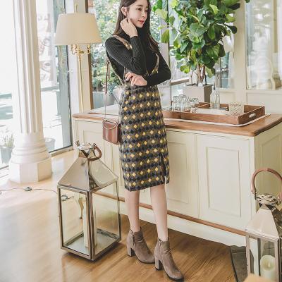 恩黛 实拍2017冬季新款韩版收腰百搭背带裙修身格子毛呢连衣裙 Q047F6106