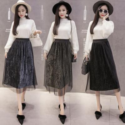 1113#实拍 新款秋冬韩版网纱金属色丝绒百褶高腰中长款两件套女套装