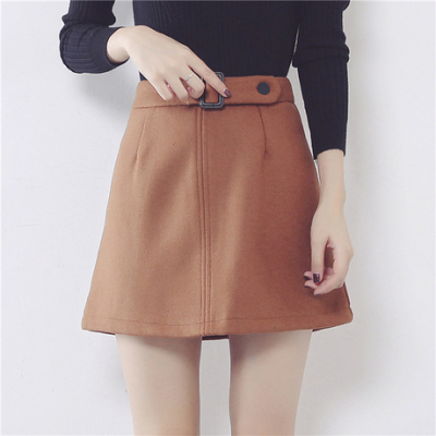 【实拍】9958#冬季加厚毛呢半身裙腰带a字裙军装风短裙
