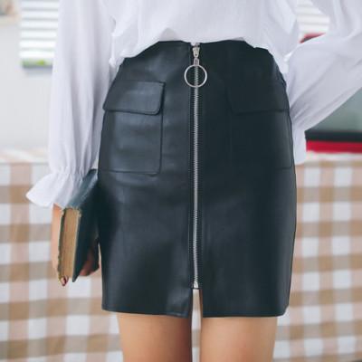 实拍889#秋季新款圆环拉链高腰PU皮裙韩版包臀显瘦半身短裙女
