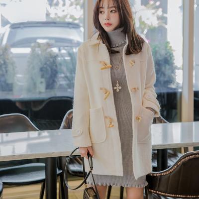 恩黛 2017实拍秋冬装新款韩版长袖毛呢外套宽松显瘦纯色长款上衣 Q047F6078