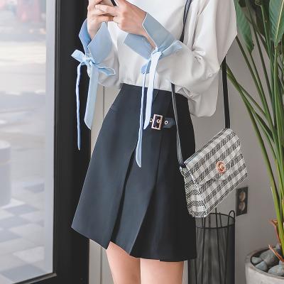 恩黛 实拍2017冬装新款韩版显瘦半身裙百搭高腰纯色百褶裙 Q047F6135