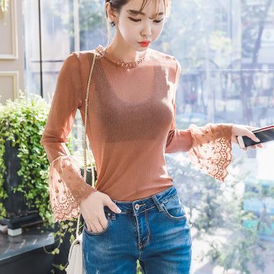 恩黛 实拍新款韩版拼接喇叭袖亮丝T恤女长袖圆领显瘦打底衫修身 Q047F6122