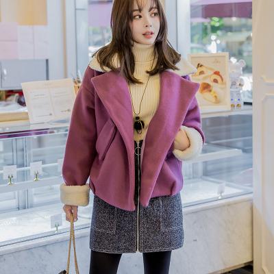 恩黛 实拍2017韩版女秋装新款长袖百搭呢子显瘦时尚短款毛呢外套 Q047F6089