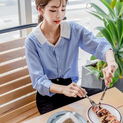 恩黛 实拍2017秋冬装新款韩版九分袖条纹衬衣假两件宽松显瘦上衣 Q047F6111