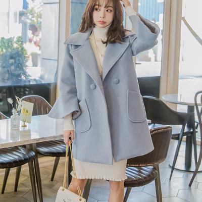 恩黛 2017实拍秋冬装新款韩版长袖毛呢外套宽松显瘦长款上衣 Q047F6079