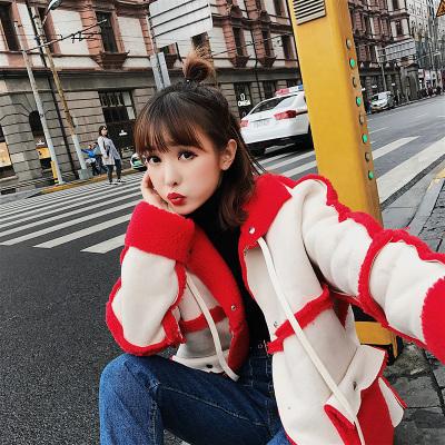 恩黛 2017秋冬新款韩版女装拼接加厚大衣鹿皮绒外套女 Q047F6196