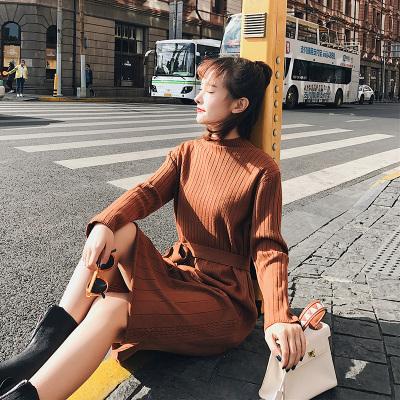 恩黛 2017新款韩版宽松中长款过膝毛衣裙显瘦长袖针织连衣裙秋冬 F6192