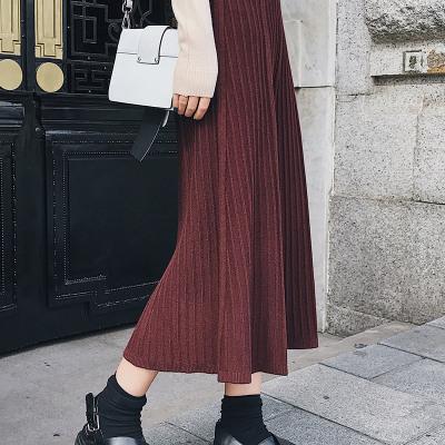 【12】恩黛 冬装新款韩版百褶竖条纹半身裙包臀长裙显瘦高腰针织裙 F6178
