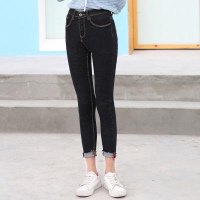 时尚修身显瘦小脚铅笔裤百搭牛仔九分裤 1001