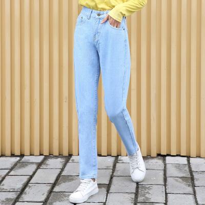 杰妮 2018新款时尚洗水蓝宽松牛仔长裤 1014