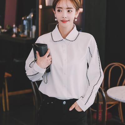 恩黛 2017冬装新款韩版气质显瘦撞色宽松翻领长袖衬衫泡泡袖衬衣 Q047F6153