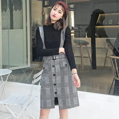 【9号】LYDIA 2017秋冬新款格子纹背带裙休闲百搭小香风两件套