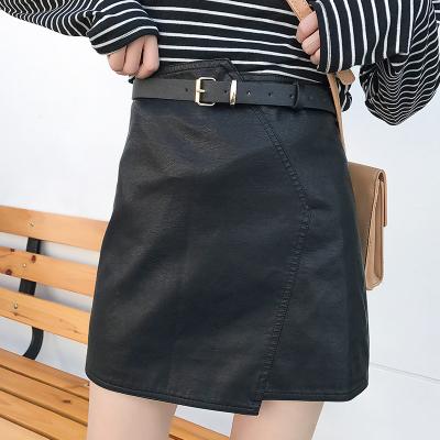【15号】LYDIA 2017冬款皮质很软的配腰带PU皮裙半身裙不对称斜分割线A字短裙