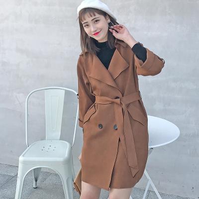 LYDIA 2017冬新款韩版中长款英伦风双排扣外套棉质好风衣