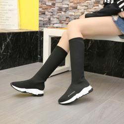 【直播款】拓涵 2017冬季新款女鞋高筒靴针织休闲袜子鞋弹力透气袜靴