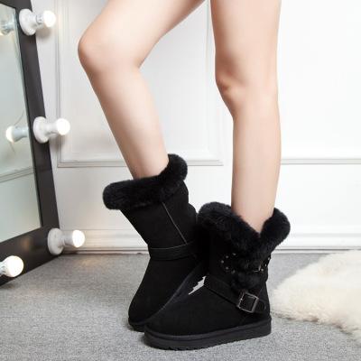 拓涵 2017冬季新款真皮保暖雪地靴加绒女鞋韩版羊皮毛一体中筒女