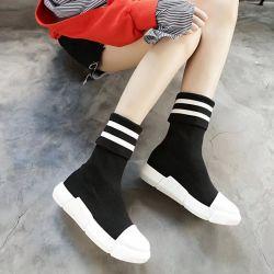 【直播款】拓涵 2017秋冬季袜子靴单靴弹力飞织女高筒靴运动鞋厚底学生防水