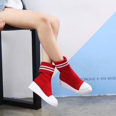拓涵 2017秋冬新款欧美袜子靴女厚底中筒靴毛线针织弹力高帮圆头
