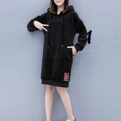 【02号】歌诺瑞丝 金丝绒中长款卫衣连衣裙女加绒加厚宽松外套NV75282