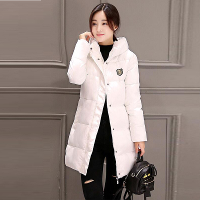 琴之云裳 2017冬季新款韩版修身加厚连帽中长款羽绒服女棉衣 8905