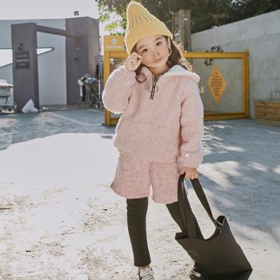 魔逗星 潮范卫衣儿童套装 冬款加绒连帽运动女童套装 女童套装童装秋冬 091