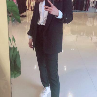 美尚铺2017年新款西装职业装修身套装新款两色