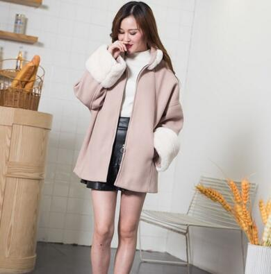 RXY 2017冬装新款时尚短款毛呢外套女韩版宽松带毛呢子大衣外套 6620
