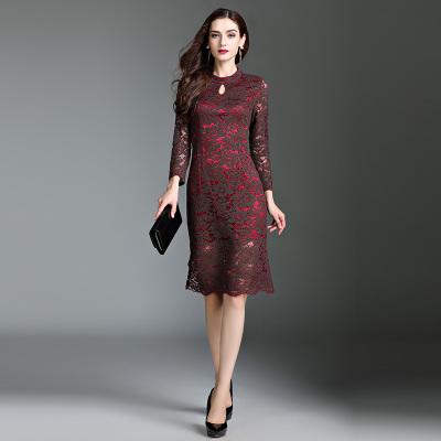 格尚 2017秋季新款气质优雅淑女七分袖蕾丝中长款连衣裙女修身荷叶边裙 9363